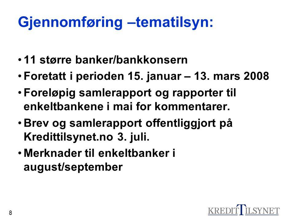 8 Gjennomføring –tematilsyn: 11 større banker/bankkonsern Foretatt i perioden 15. januar – 13. mars 2008 Foreløpig samlerapport og rapporter til enkel