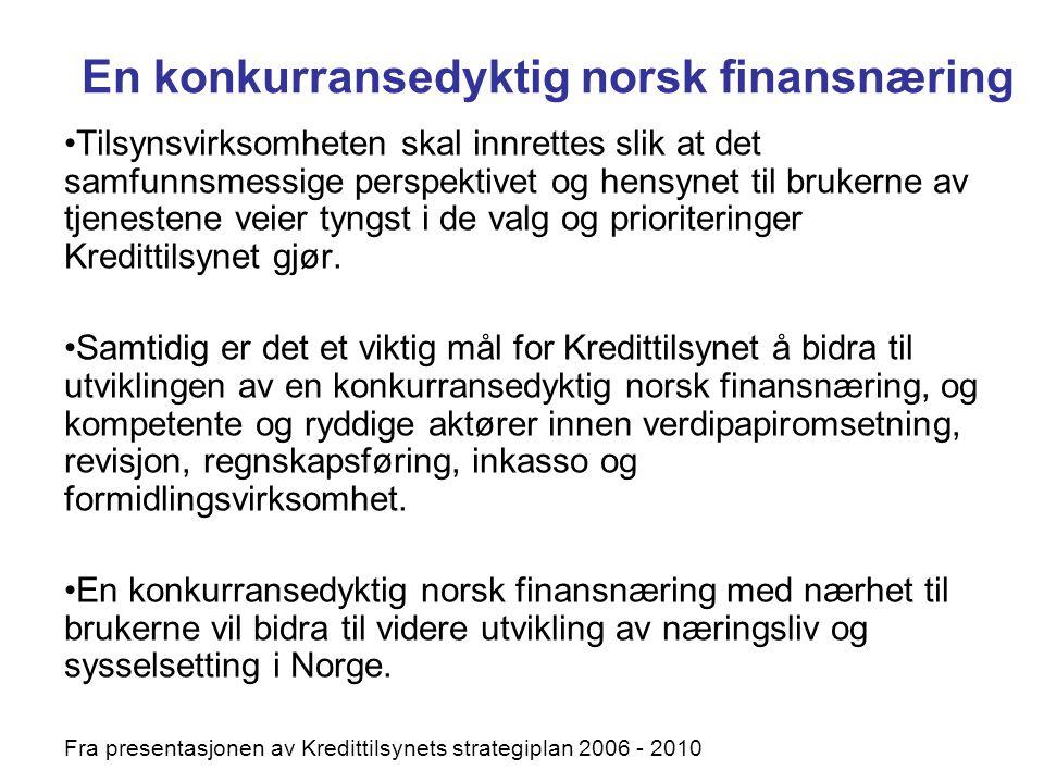 En konkurransedyktig norsk finansnæring Tilsynsvirksomheten skal innrettes slik at det samfunnsmessige perspektivet og hensynet til brukerne av tjenes