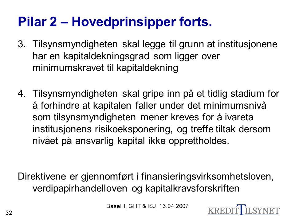 Basel II, GHT & ISJ, 13.04.2007 32 Pilar 2 – Hovedprinsipper forts.