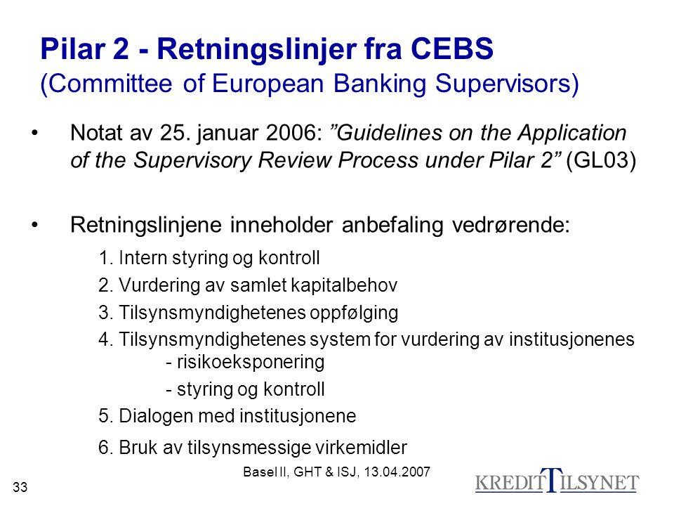 Basel II, GHT & ISJ, 13.04.2007 33 Pilar 2 - Retningslinjer fra CEBS (Committee of European Banking Supervisors) Notat av 25.