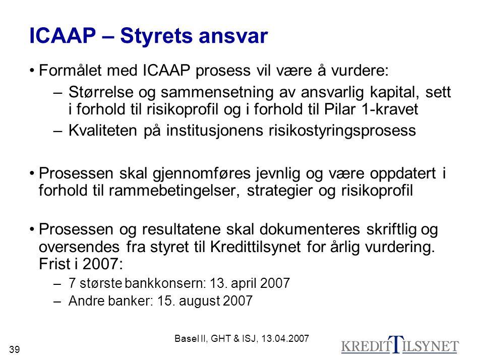 Basel II, GHT & ISJ, 13.04.2007 39 ICAAP – Styrets ansvar Formålet med ICAAP prosess vil være å vurdere: –Størrelse og sammensetning av ansvarlig kapital, sett i forhold til risikoprofil og i forhold til Pilar 1-kravet –Kvaliteten på institusjonens risikostyringsprosess Prosessen skal gjennomføres jevnlig og være oppdatert i forhold til rammebetingelser, strategier og risikoprofil Prosessen og resultatene skal dokumenteres skriftlig og oversendes fra styret til Kredittilsynet for årlig vurdering.