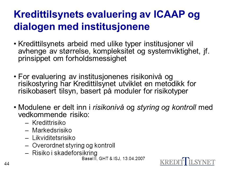 Basel II, GHT & ISJ, 13.04.2007 44 Kredittilsynets evaluering av ICAAP og dialogen med institusjonene Kredittilsynets arbeid med ulike typer institusj