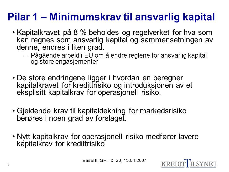 Basel II, GHT & ISJ, 13.04.2007 7 Pilar 1 – Minimumskrav til ansvarlig kapital Kapitalkravet på 8 % beholdes og regelverket for hva som kan regnes som ansvarlig kapital og sammensetningen av denne, endres i liten grad.