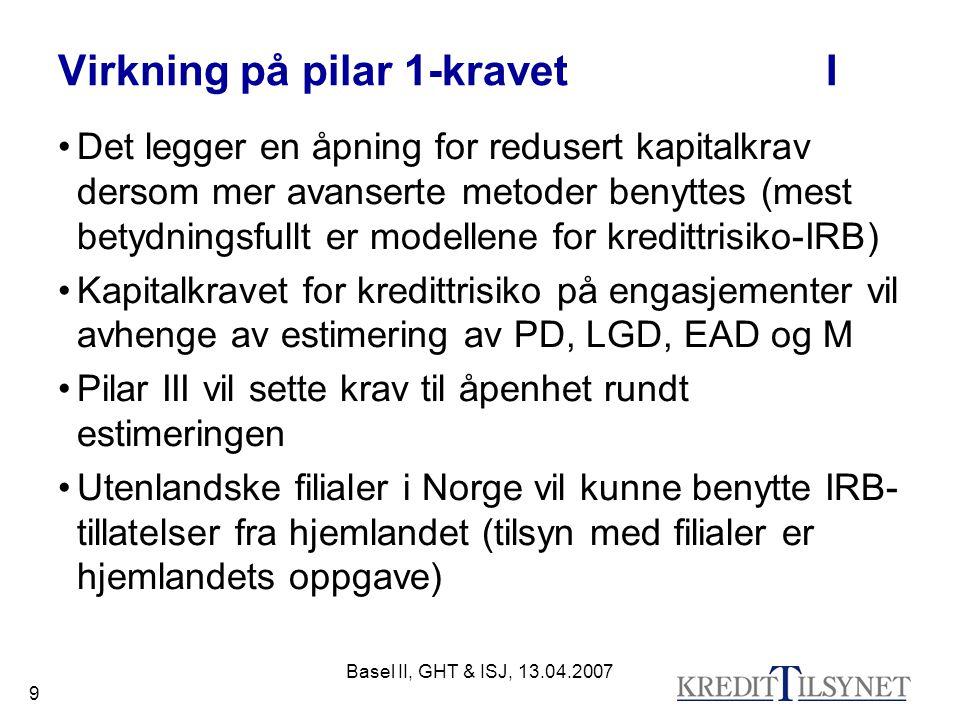Basel II, GHT & ISJ, 13.04.2007 9 Virkning på pilar 1-kravetI Det legger en åpning for redusert kapitalkrav dersom mer avanserte metoder benyttes (mest betydningsfullt er modellene for kredittrisiko-IRB) Kapitalkravet for kredittrisiko på engasjementer vil avhenge av estimering av PD, LGD, EAD og M Pilar III vil sette krav til åpenhet rundt estimeringen Utenlandske filialer i Norge vil kunne benytte IRB- tillatelser fra hjemlandet (tilsyn med filialer er hjemlandets oppgave)