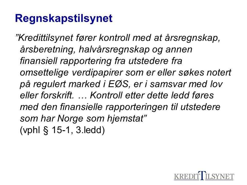 Ny vphl - hjemstat og vertsstat Norge er hjemstat for –Utstedere fra EØS med forretningskontor i Norge Eks; StatoilHydro, Telenor, Yara, Orkla, DnbNor etc –Utstedere fra land utenfor EØS (Hvis de ikke har et annet EØS land som hjemstat, noe som kun er aktuelt hvis notert på børs i flere EØS land) Eks: Seadrill, Frontline, RCCL, Star Reefers, Subsea 7 Norge er vertsstat for –Utstedere fra annet EØS-land.
