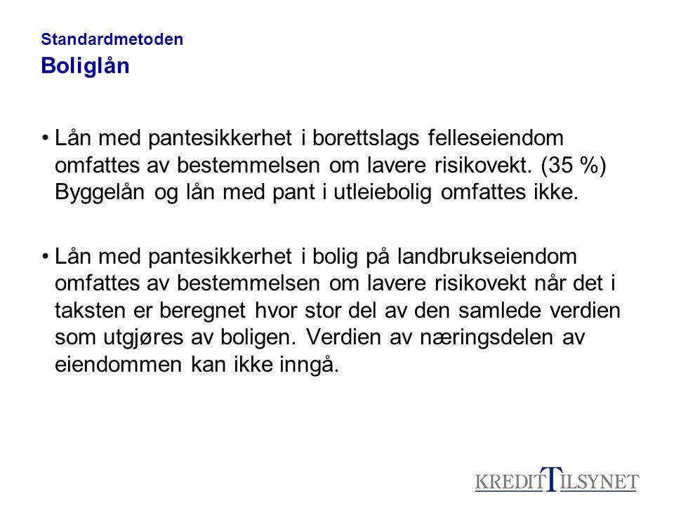Standardmetoden Boliglån Lån med pantesikkerhet i borettslags felleseiendom omfattes av bestemmelsen om lavere risikovekt.