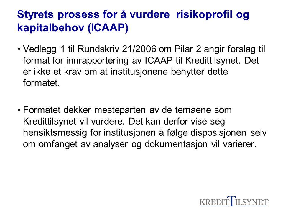 Styrets prosess for å vurdere risikoprofil og kapitalbehov (ICAAP) Vedlegg 1 til Rundskriv 21/2006 om Pilar 2 angir forslag til format for innrapportering av ICAAP til Kredittilsynet.