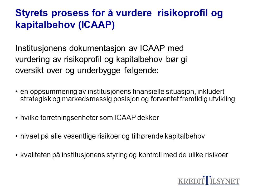 Styrets prosess for å vurdere risikoprofil og kapitalbehov (ICAAP) Institusjonens dokumentasjon av ICAAP med vurdering av risikoprofil og kapitalbehov bør gi oversikt over og underbygge følgende: en oppsummering av institusjonens finansielle situasjon, inkludert strategisk og markedsmessig posisjon og forventet fremtidig utvikling hvilke forretningsenheter som ICAAP dekker nivået på alle vesentlige risikoer og tilhørende kapitalbehov kvaliteten på institusjonens styring og kontroll med de ulike risikoer