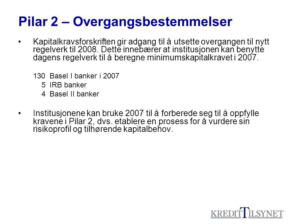 Pilar 2 – Overgangsbestemmelser Kapitalkravsforskriften gir adgang til å utsette overgangen til nytt regelverk til 2008.