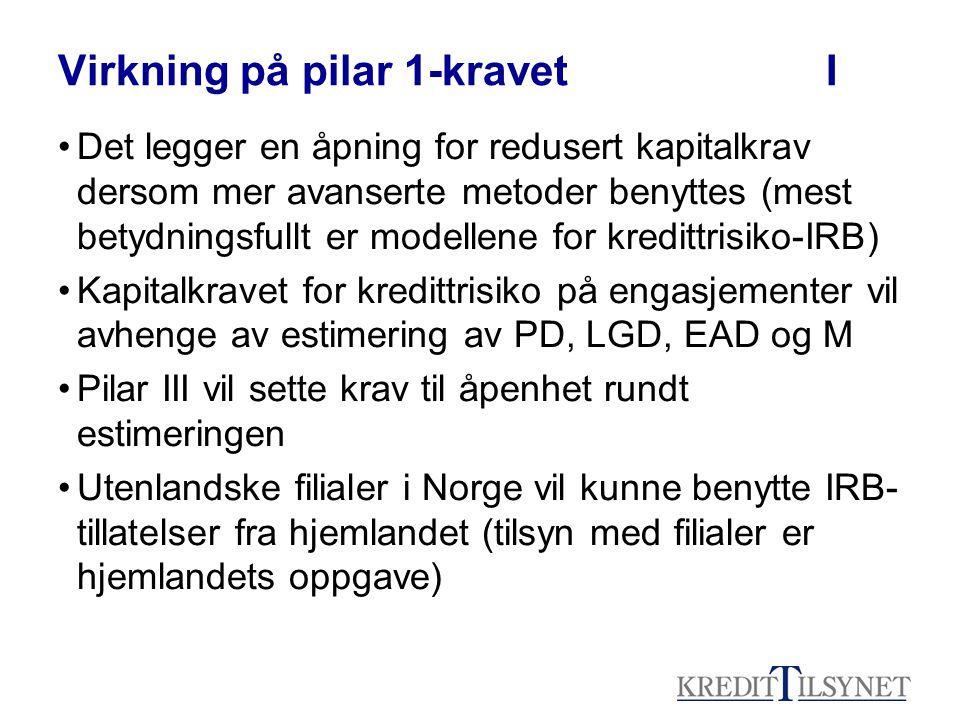 Virkning på pilar 1-kravetI Det legger en åpning for redusert kapitalkrav dersom mer avanserte metoder benyttes (mest betydningsfullt er modellene for kredittrisiko-IRB) Kapitalkravet for kredittrisiko på engasjementer vil avhenge av estimering av PD, LGD, EAD og M Pilar III vil sette krav til åpenhet rundt estimeringen Utenlandske filialer i Norge vil kunne benytte IRB- tillatelser fra hjemlandet (tilsyn med filialer er hjemlandets oppgave)
