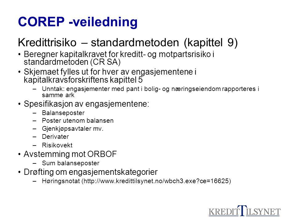 COREP -veiledning Kredittrisiko – standardmetoden (kapittel 9) Beregner kapitalkravet for kreditt- og motpartsrisiko i standardmetoden (CR SA) Skjemae