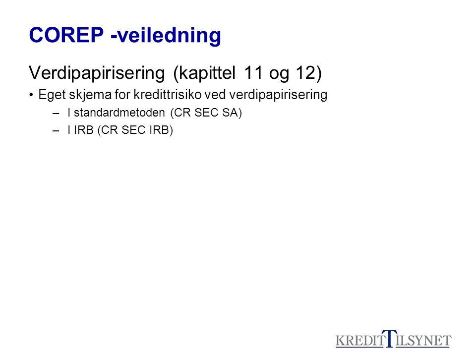 COREP -veiledning Verdipapirisering (kapittel 11 og 12) Eget skjema for kredittrisiko ved verdipapirisering –I standardmetoden (CR SEC SA) –I IRB (CR