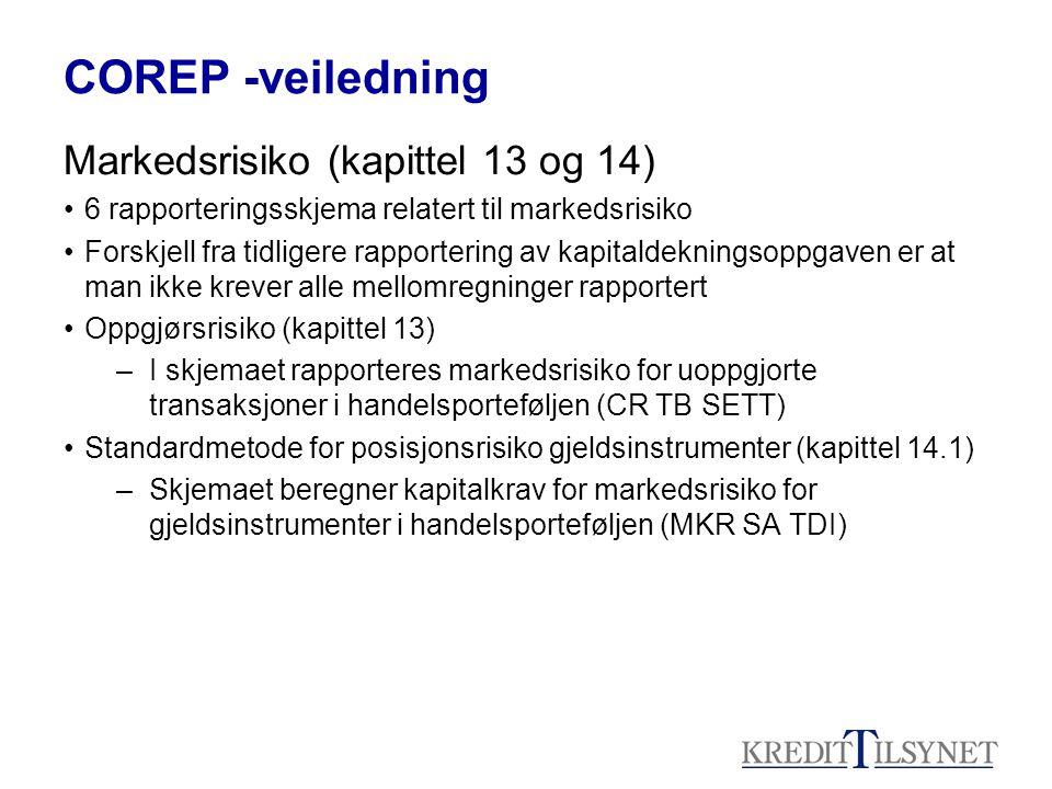 COREP -veiledning Markedsrisiko (kapittel 13 og 14) 6 rapporteringsskjema relatert til markedsrisiko Forskjell fra tidligere rapportering av kapitalde