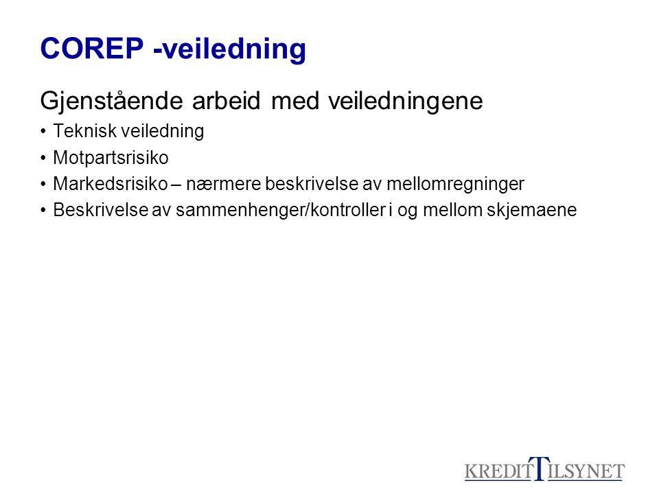 COREP -veiledning Gjenstående arbeid med veiledningene Teknisk veiledning Motpartsrisiko Markedsrisiko – nærmere beskrivelse av mellomregninger Beskri