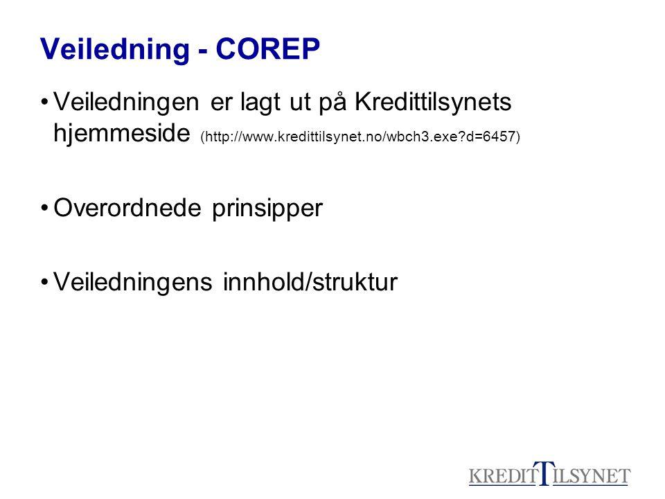 Veiledning - COREP Veiledningen er lagt ut på Kredittilsynets hjemmeside (http://www.kredittilsynet.no/wbch3.exe?d=6457) Overordnede prinsipper Veiled