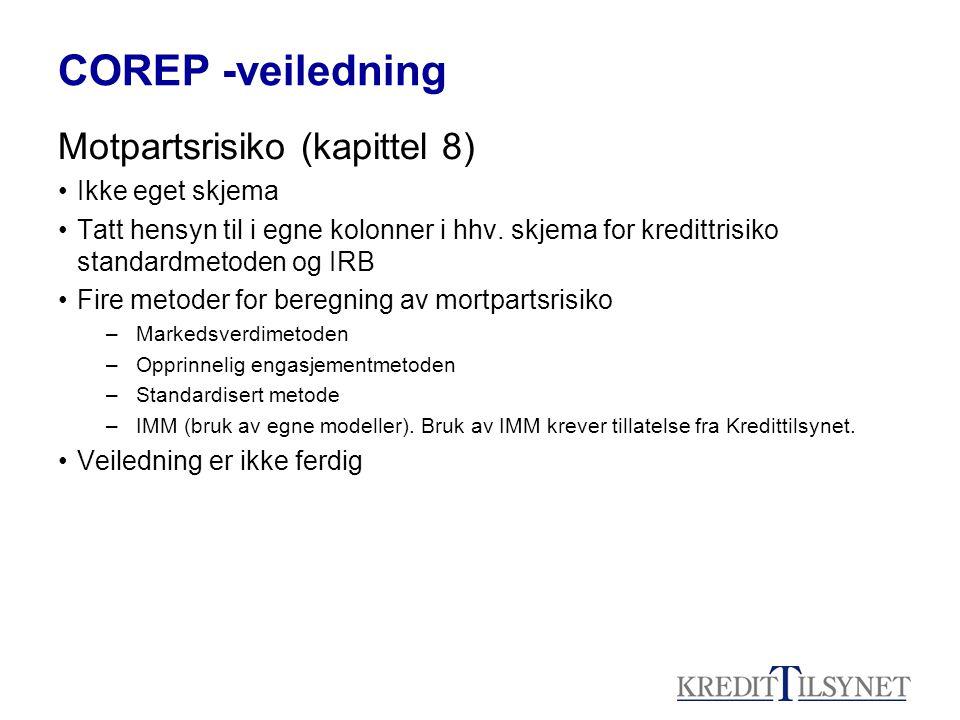 COREP -veiledning Motpartsrisiko (kapittel 8) Ikke eget skjema Tatt hensyn til i egne kolonner i hhv. skjema for kredittrisiko standardmetoden og IRB