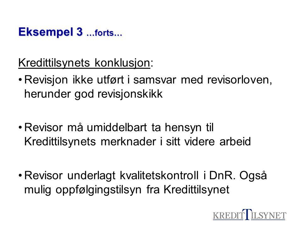 Eksempel 3 …forts… Kredittilsynets konklusjon: Revisjon ikke utført i samsvar med revisorloven, herunder god revisjonskikk Revisor må umiddelbart ta h