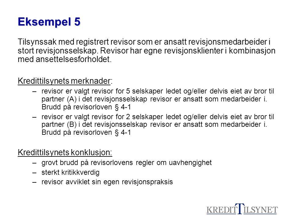 Eksempel 5 Tilsynssak med registrert revisor som er ansatt revisjonsmedarbeider i stort revisjonsselskap. Revisor har egne revisjonsklienter i kombina