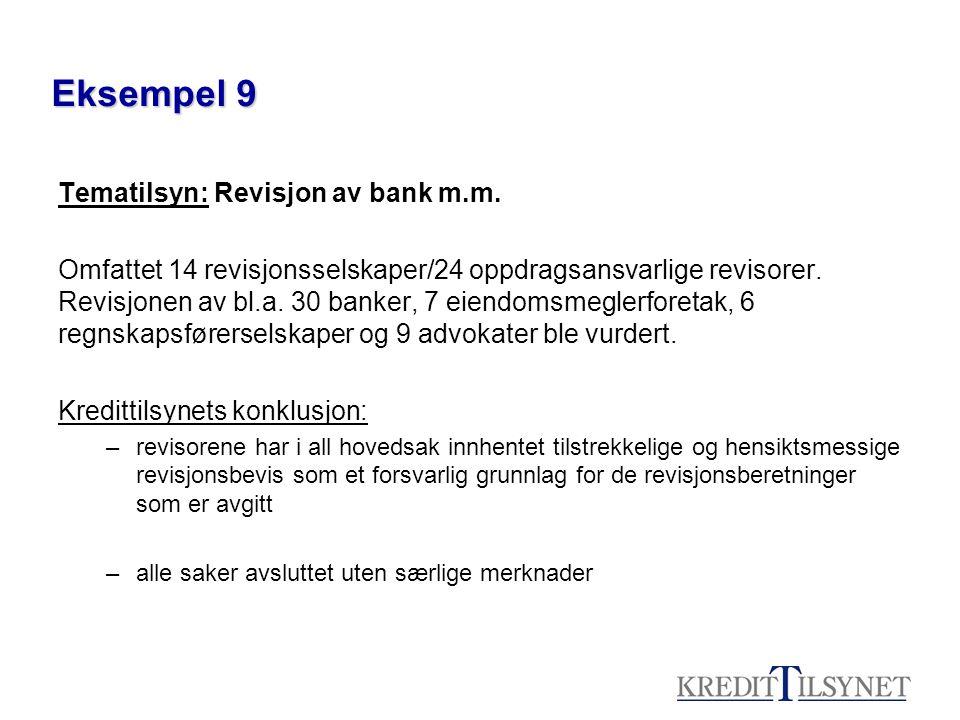 Eksempel 9 Tematilsyn: Revisjon av bank m.m. Omfattet 14 revisjonsselskaper/24 oppdragsansvarlige revisorer. Revisjonen av bl.a. 30 banker, 7 eiendoms