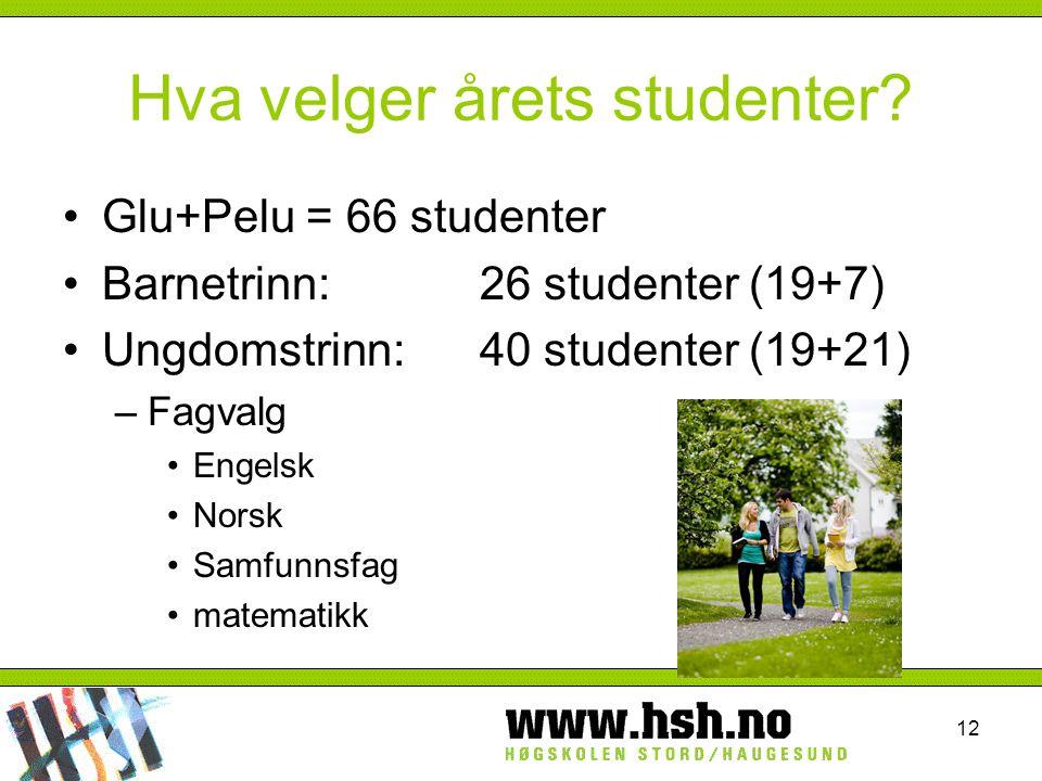 12 Hva velger årets studenter? Glu+Pelu = 66 studenter Barnetrinn:26 studenter (19+7) Ungdomstrinn:40 studenter (19+21) –Fagvalg Engelsk Norsk Samfunn