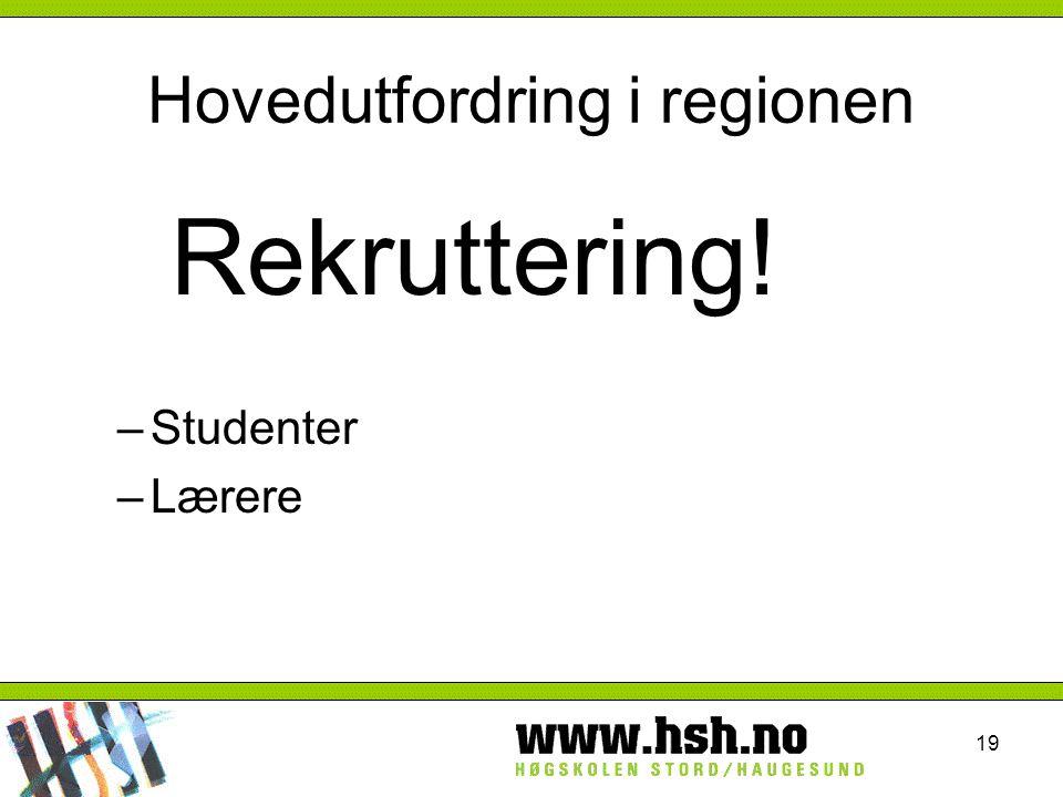19 Hovedutfordring i regionen Rekruttering! –Studenter –Lærere