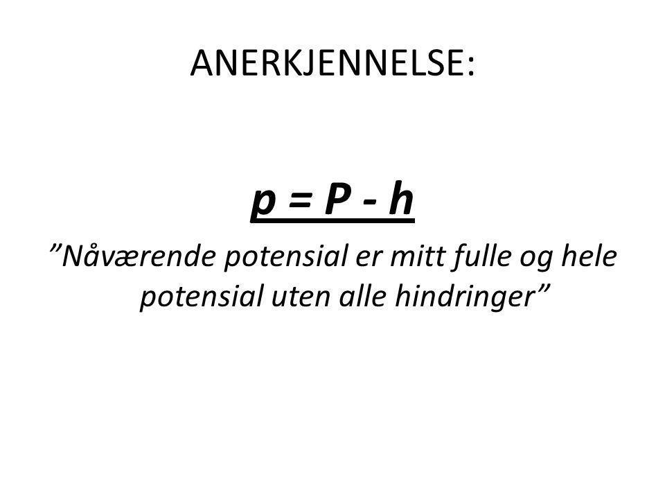 """ANERKJENNELSE: p = P - h """"Nåværende potensial er mitt fulle og hele potensial uten alle hindringer"""""""