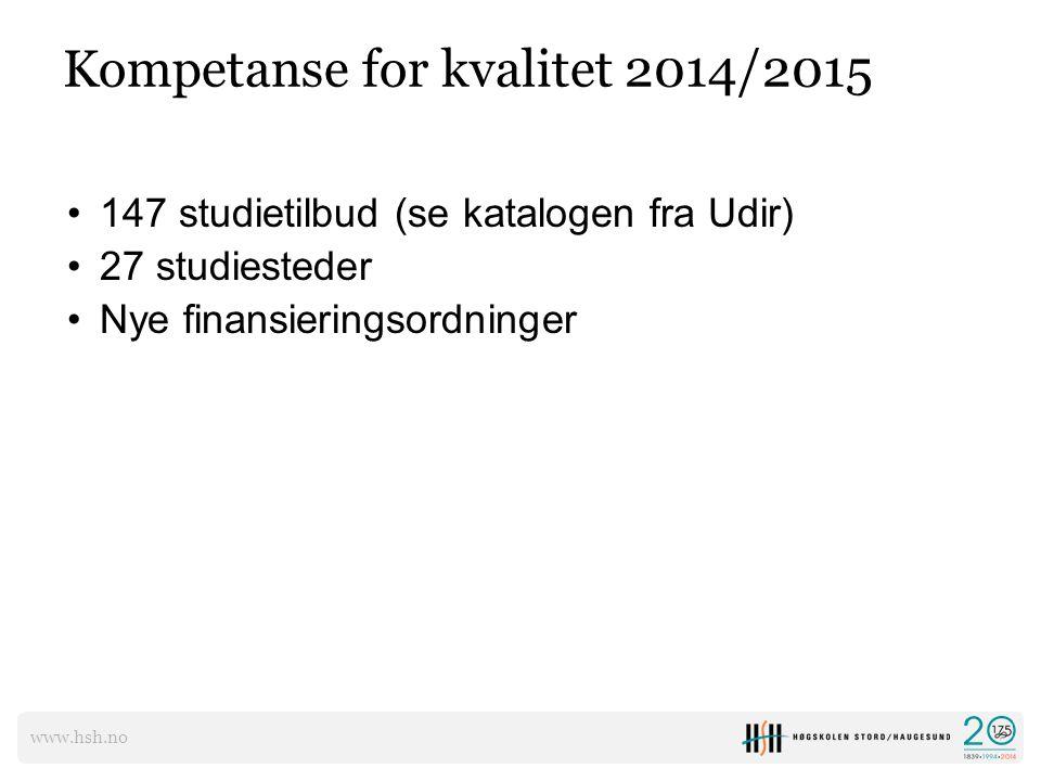 www.hsh.no Kompetanse for kvalitet 2014/2015 147 studietilbud (se katalogen fra Udir) 27 studiesteder Nye finansieringsordninger