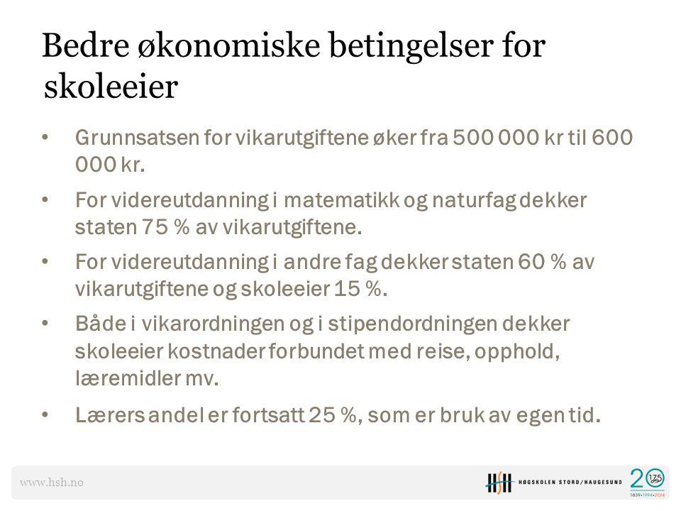 www.hsh.no Bedre økonomiske betingelser for skoleeier Grunnsatsen for vikarutgiftene øker fra 500 000 kr til 600 000 kr. For videreutdanning i matemat