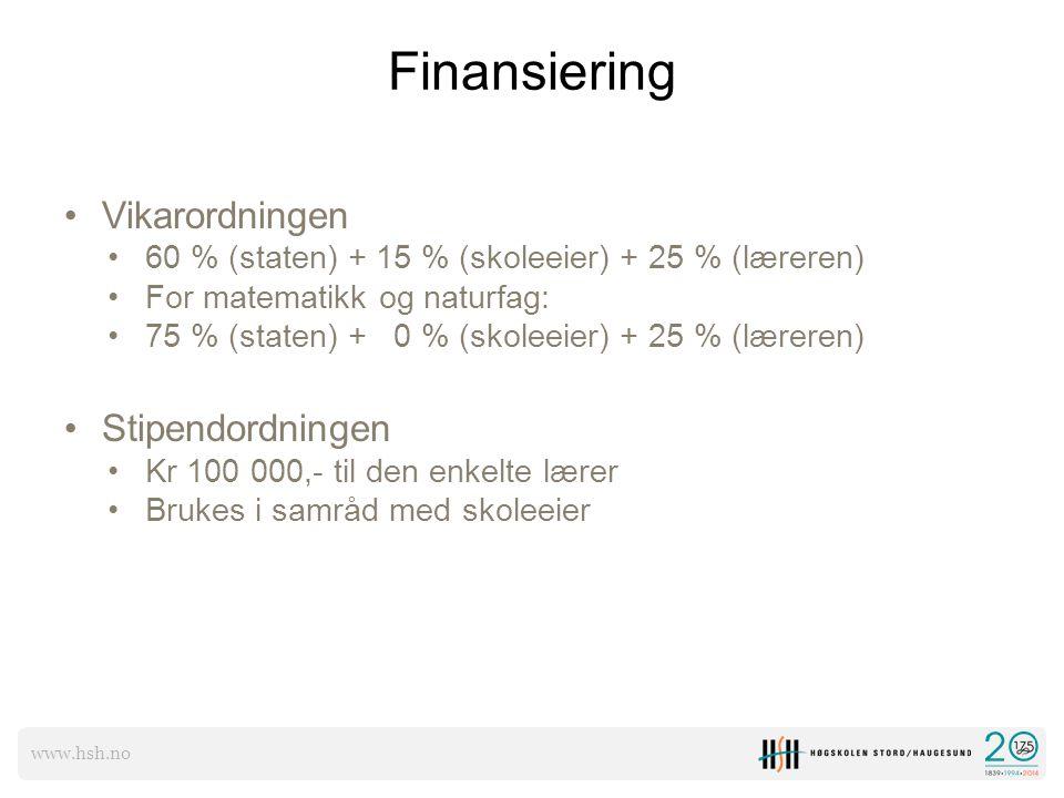 www.hsh.no Finansiering Vikarordningen 60 % (staten) + 15 % (skoleeier) + 25 % (læreren) For matematikk og naturfag: 75 % (staten) + 0 % (skoleeier) +