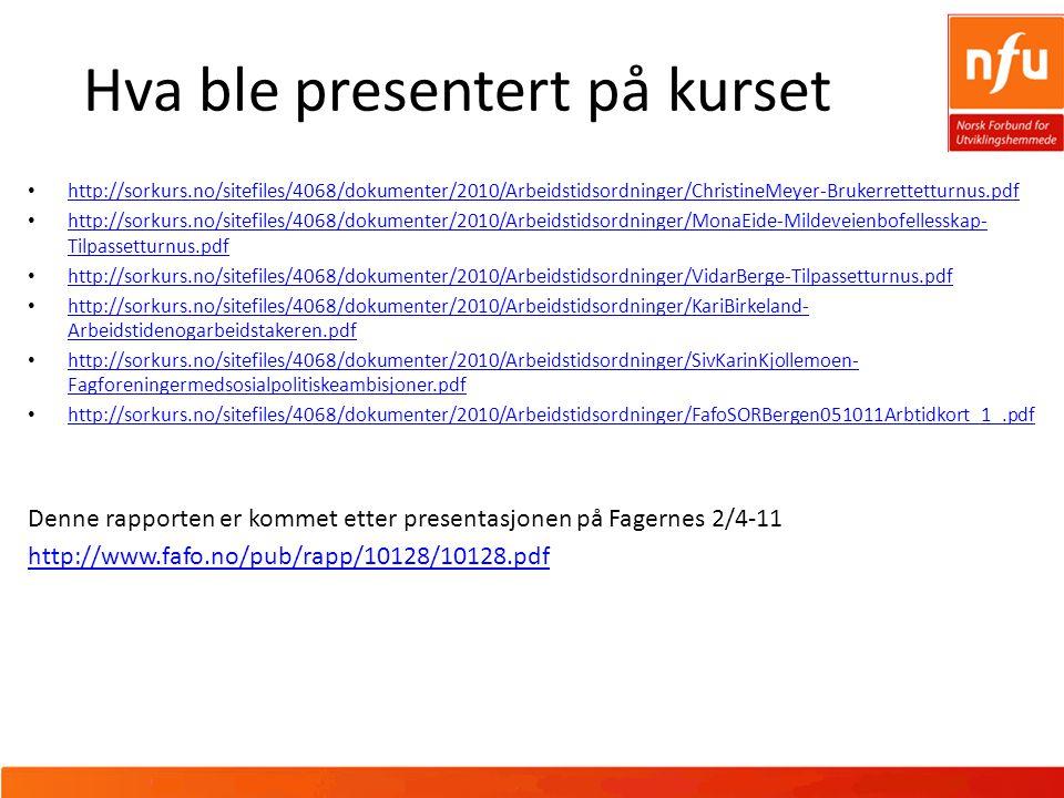 Hva ble presentert på kurset http://sorkurs.no/sitefiles/4068/dokumenter/2010/Arbeidstidsordninger/ChristineMeyer-Brukerrettetturnus.pdf http://sorkurs.no/sitefiles/4068/dokumenter/2010/Arbeidstidsordninger/MonaEide-Mildeveienbofellesskap- Tilpassetturnus.pdf http://sorkurs.no/sitefiles/4068/dokumenter/2010/Arbeidstidsordninger/MonaEide-Mildeveienbofellesskap- Tilpassetturnus.pdf http://sorkurs.no/sitefiles/4068/dokumenter/2010/Arbeidstidsordninger/VidarBerge-Tilpassetturnus.pdf http://sorkurs.no/sitefiles/4068/dokumenter/2010/Arbeidstidsordninger/KariBirkeland- Arbeidstidenogarbeidstakeren.pdf http://sorkurs.no/sitefiles/4068/dokumenter/2010/Arbeidstidsordninger/KariBirkeland- Arbeidstidenogarbeidstakeren.pdf http://sorkurs.no/sitefiles/4068/dokumenter/2010/Arbeidstidsordninger/SivKarinKjollemoen- Fagforeningermedsosialpolitiskeambisjoner.pdf http://sorkurs.no/sitefiles/4068/dokumenter/2010/Arbeidstidsordninger/SivKarinKjollemoen- Fagforeningermedsosialpolitiskeambisjoner.pdf http://sorkurs.no/sitefiles/4068/dokumenter/2010/Arbeidstidsordninger/FafoSORBergen051011Arbtidkort_1_.pdf Denne rapporten er kommet etter presentasjonen på Fagernes 2/4-11 http://www.fafo.no/pub/rapp/10128/10128.pdf