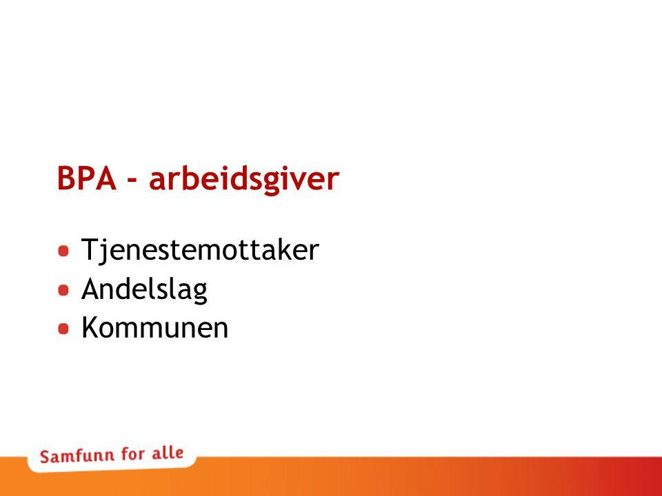 BPA - arbeidsgiver Tjenestemottaker Andelslag Kommunen