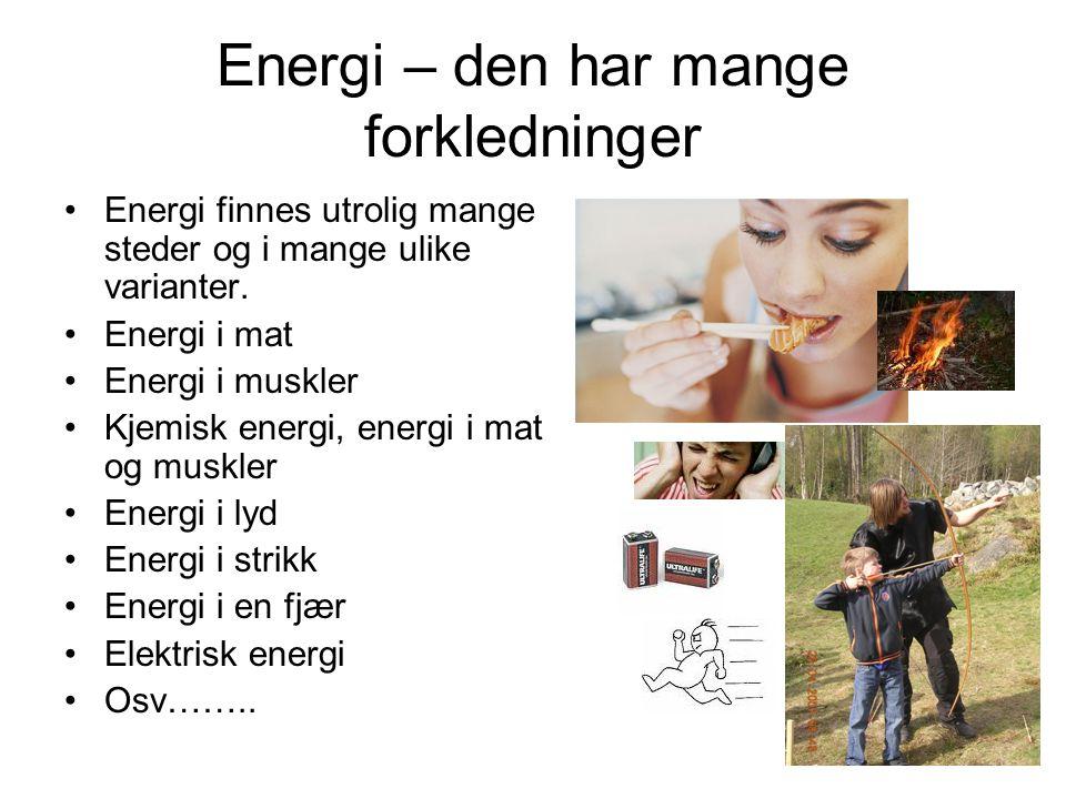 Energi – den har mange forkledninger Energi finnes utrolig mange steder og i mange ulike varianter. Energi i mat Energi i muskler Kjemisk energi, ener