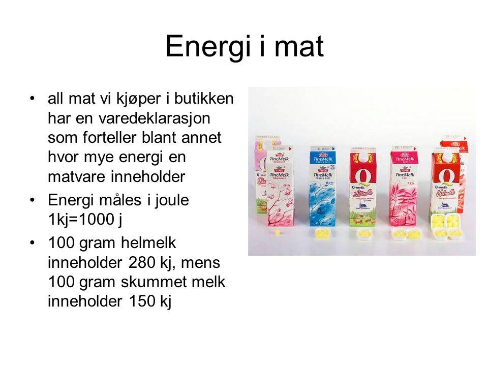 Energi i mat all mat vi kjøper i butikken har en varedeklarasjon som forteller blant annet hvor mye energi en matvare inneholder Energi måles i joule