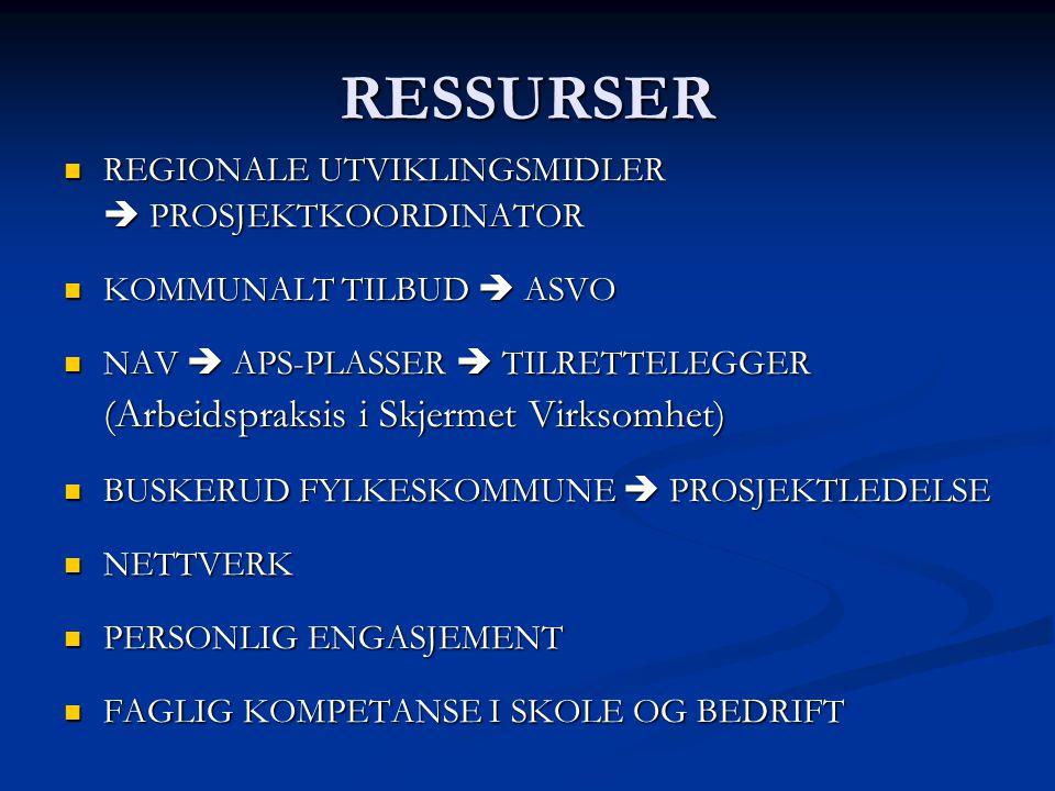 RESSURSER REGIONALE UTVIKLINGSMIDLER REGIONALE UTVIKLINGSMIDLER  PROSJEKTKOORDINATOR KOMMUNALT TILBUD  ASVO KOMMUNALT TILBUD  ASVO NAV  APS-PLASSER  TILRETTELEGGER NAV  APS-PLASSER  TILRETTELEGGER (Arbeidspraksis i Skjermet Virksomhet) BUSKERUD FYLKESKOMMUNE  PROSJEKTLEDELSE BUSKERUD FYLKESKOMMUNE  PROSJEKTLEDELSE NETTVERK NETTVERK PERSONLIG ENGASJEMENT PERSONLIG ENGASJEMENT FAGLIG KOMPETANSE I SKOLE OG BEDRIFT FAGLIG KOMPETANSE I SKOLE OG BEDRIFT