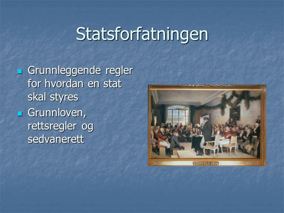 Statsforfatningen Grunnleggende regler for hvordan en stat skal styres Grunnleggende regler for hvordan en stat skal styres Grunnloven, rettsregler og sedvanerett Grunnloven, rettsregler og sedvanerett