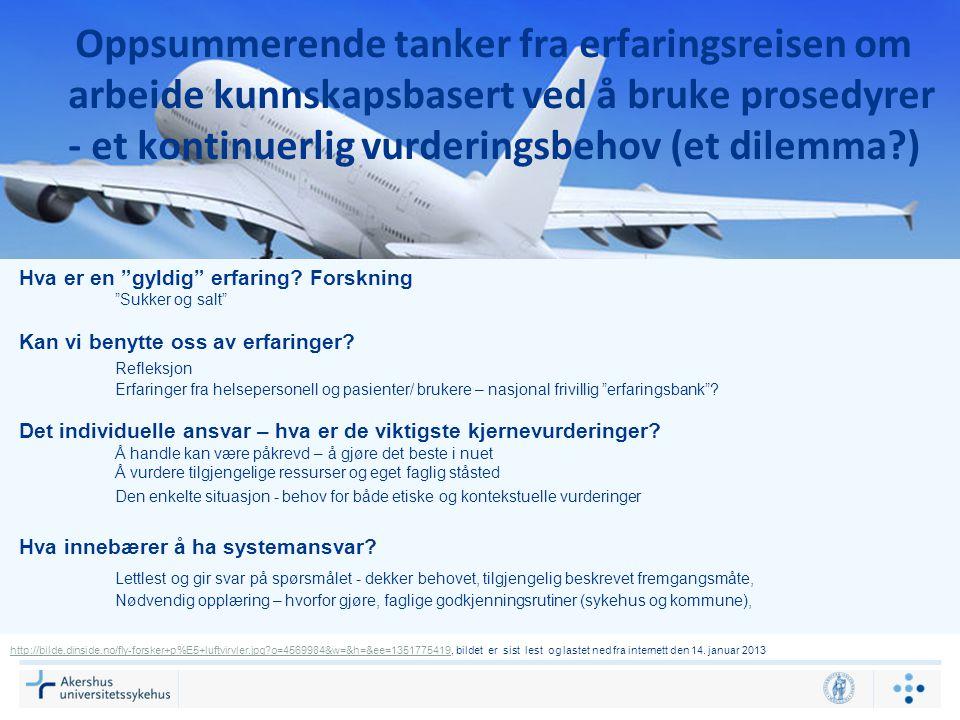 Oppsummerende tanker fra erfaringsreisen om arbeide kunnskapsbasert ved å bruke prosedyrer - et kontinuerlig vurderingsbehov (et dilemma?) http://bild