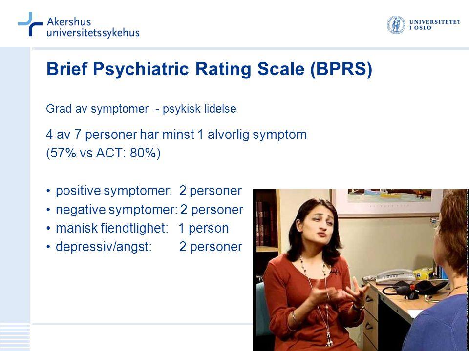 Brief Psychiatric Rating Scale (BPRS) Grad av symptomer - psykisk lidelse 4 av 7 personer har minst 1 alvorlig symptom (57% vs ACT: 80%) positive symp