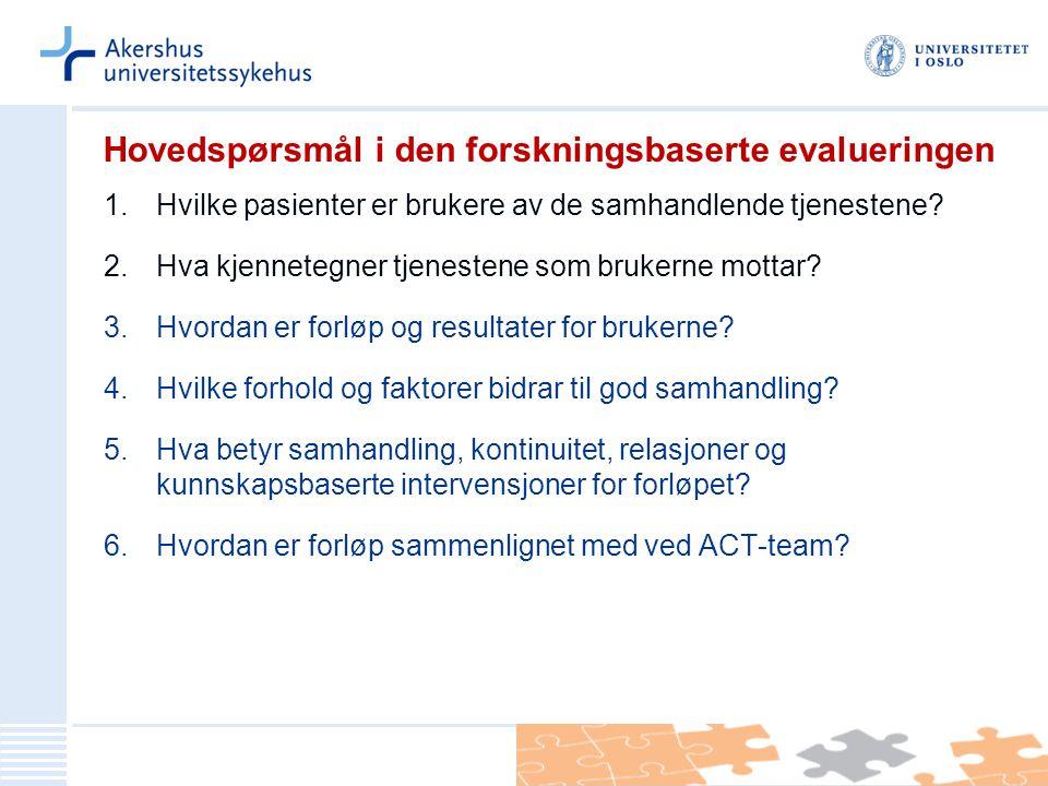 Hovedspørsmål i den forskningsbaserte evalueringen 1.Hvilke pasienter er brukere av de samhandlende tjenestene? 2.Hva kjennetegner tjenestene som bruk