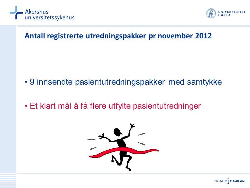 Antall registrerte utredningspakker pr november 2012 9 innsendte pasientutredningspakker med samtykke Et klart mål å få flere utfylte pasientutredning