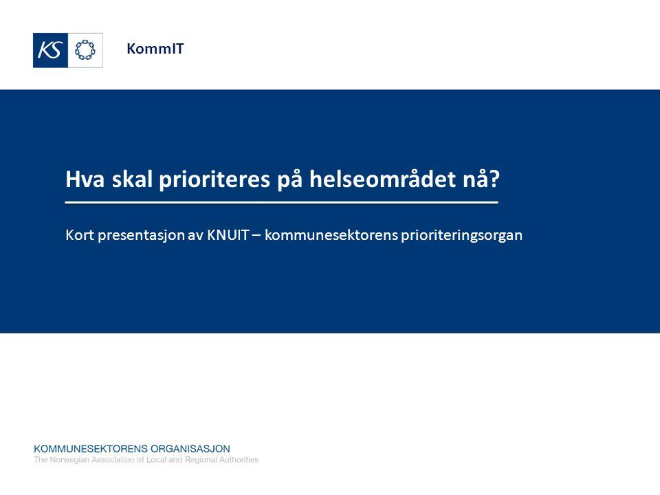 KommIT Hva skal prioriteres på helseområdet nå? Kort presentasjon av KNUIT – kommunesektorens prioriteringsorgan