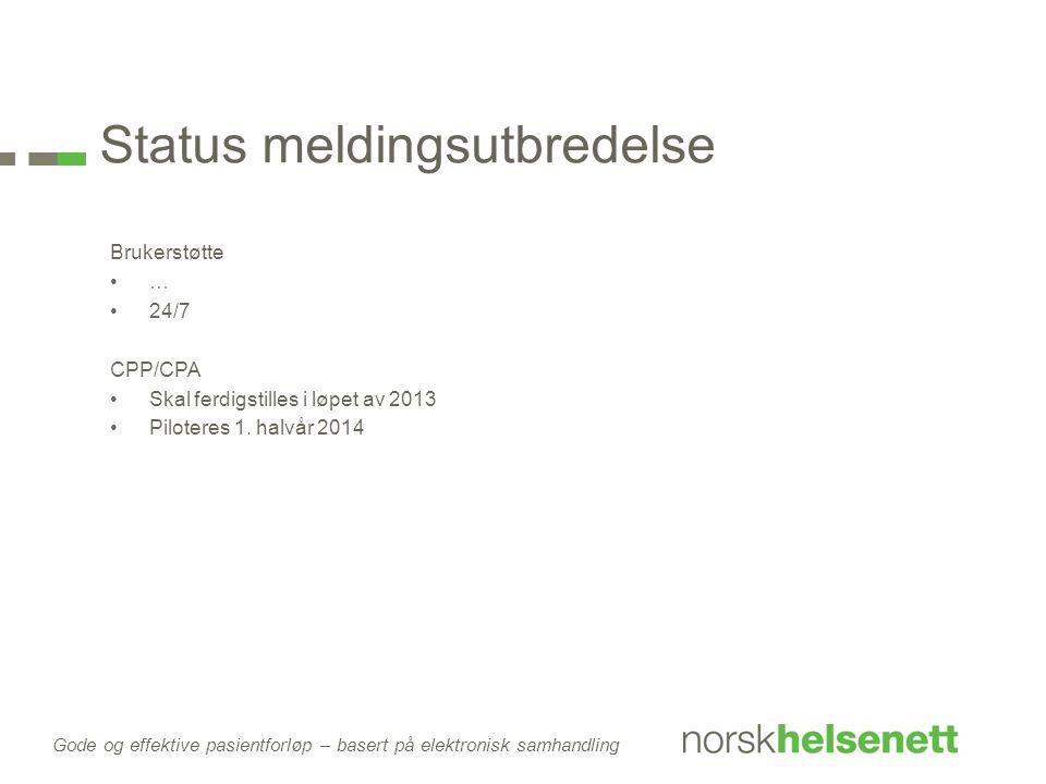 Status meldingsutbredelse Brukerstøtte … 24/7 CPP/CPA Skal ferdigstilles i løpet av 2013 Piloteres 1. halvår 2014 Gode og effektive pasientforløp – ba