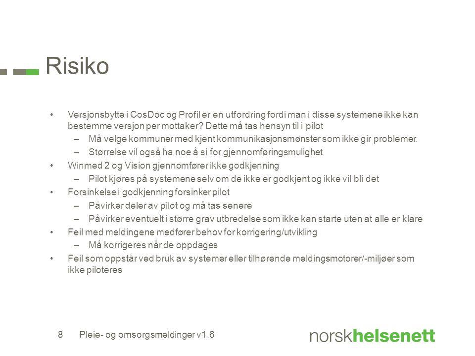 Risiko Versjonsbytte i CosDoc og Profil er en utfordring fordi man i disse systemene ikke kan bestemme versjon per mottaker.