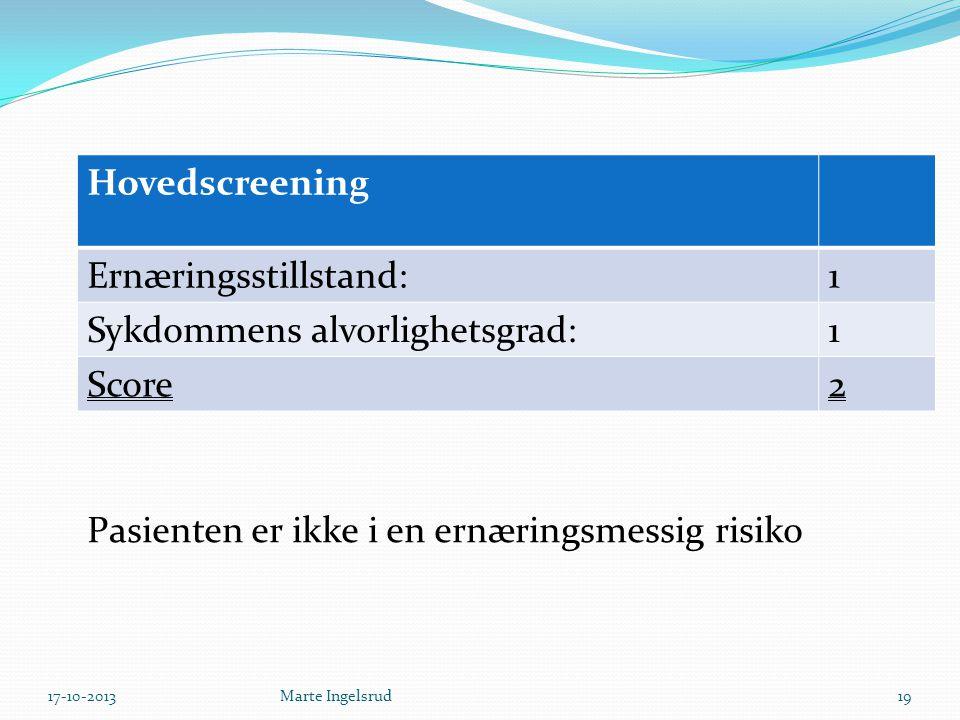Hovedscreening Ernæringsstillstand:1 Sykdommens alvorlighetsgrad:1 Score2 Pasienten er ikke i en ernæringsmessig risiko 17-10-201319Marte Ingelsrud