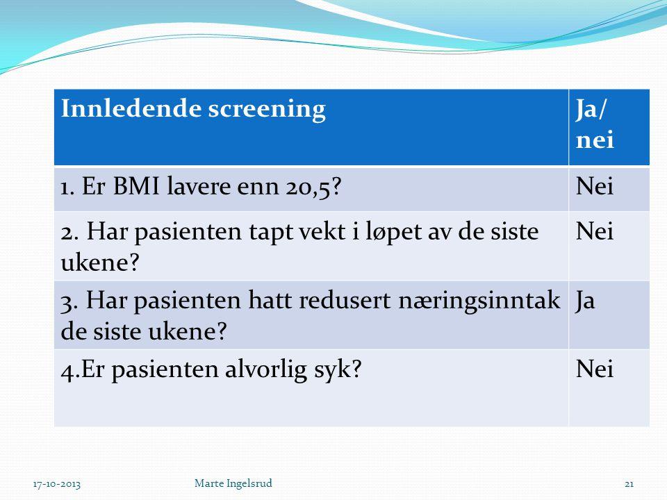 Innledende screeningJa/ nei 1. Er BMI lavere enn 20,5?Nei 2. Har pasienten tapt vekt i løpet av de siste ukene? Nei 3. Har pasienten hatt redusert nær