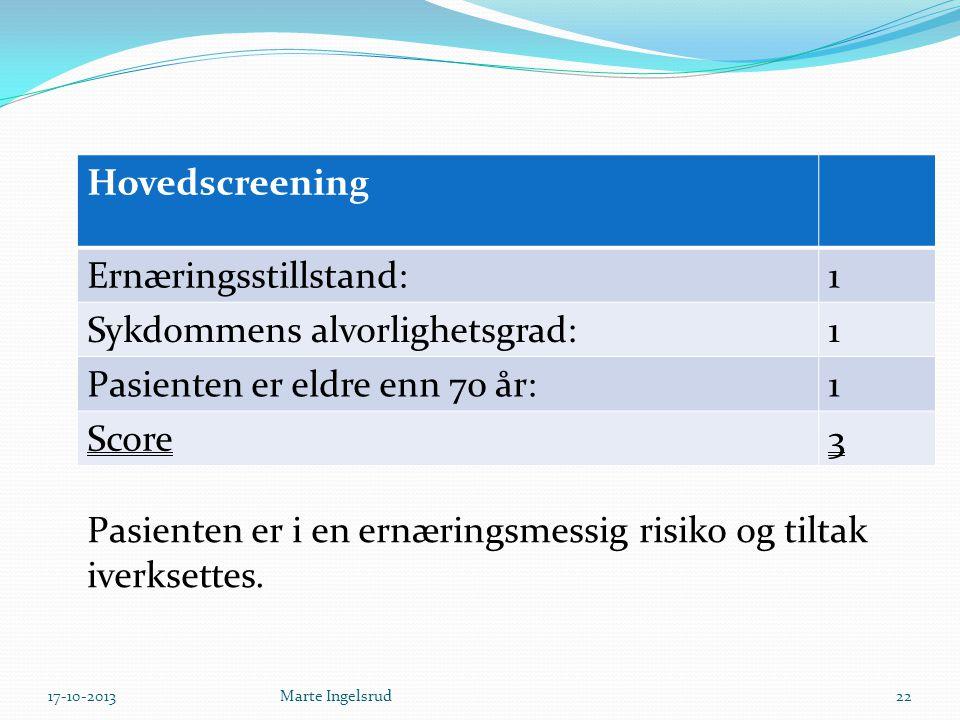 Hovedscreening Ernæringsstillstand:1 Sykdommens alvorlighetsgrad:1 Pasienten er eldre enn 70 år:1 Score3 Pasienten er i en ernæringsmessig risiko og t