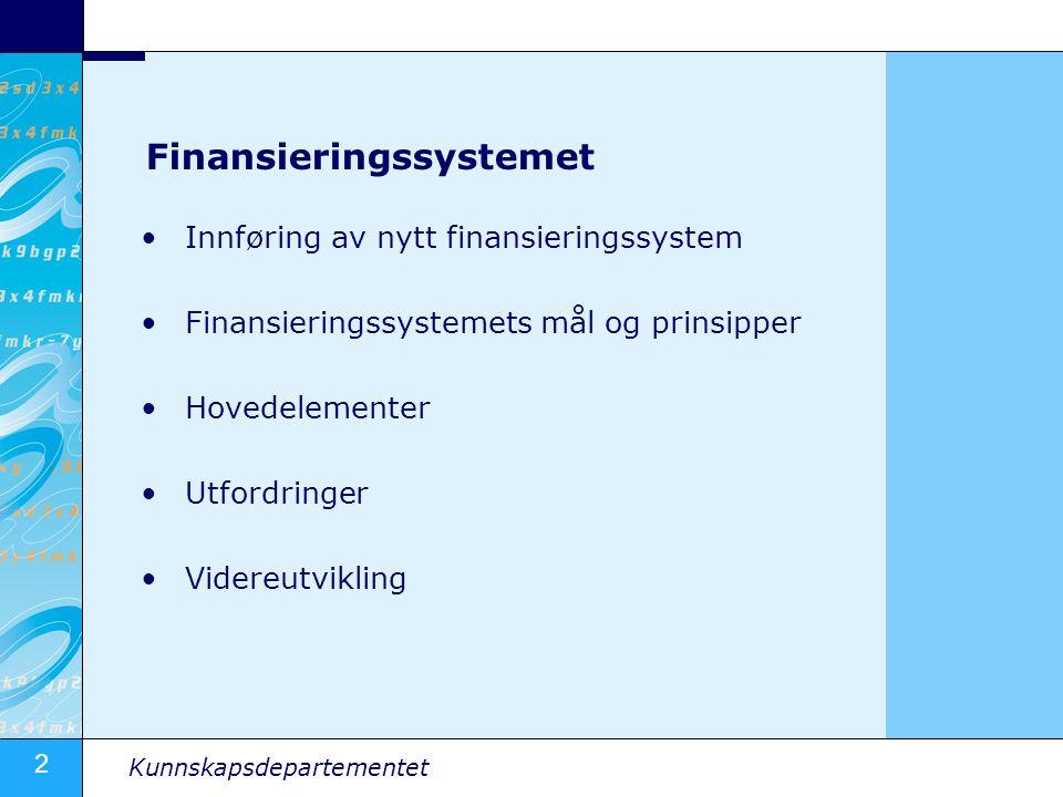 3 Kunnskapsdepartementet Innføring av nytt finansieringssystem Innført i 2002 for statlige institusjoner Innført i 2003 for private institusjoner Budsjettvirkning fra og med 2004 (2005 for private) Systemet er delt inn i tre komponenter: - Basis – ca.