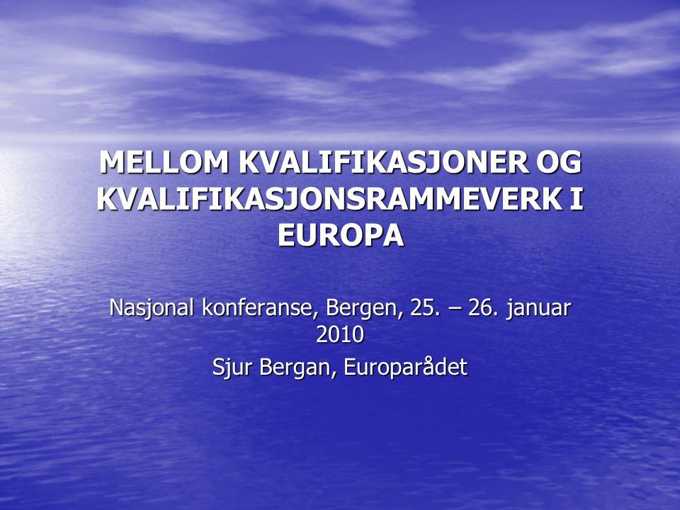 MELLOM KVALIFIKASJONER OG KVALIFIKASJONSRAMMEVERK I EUROPA Nasjonal konferanse, Bergen, 25.