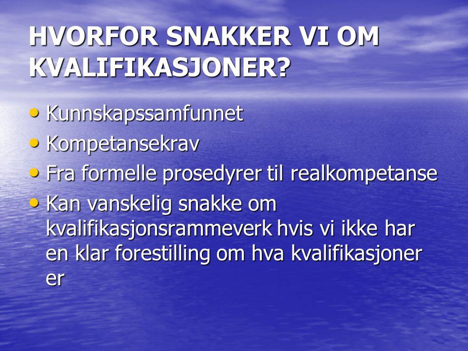HVORFOR SNAKKER VI OM KVALIFIKASJONER.