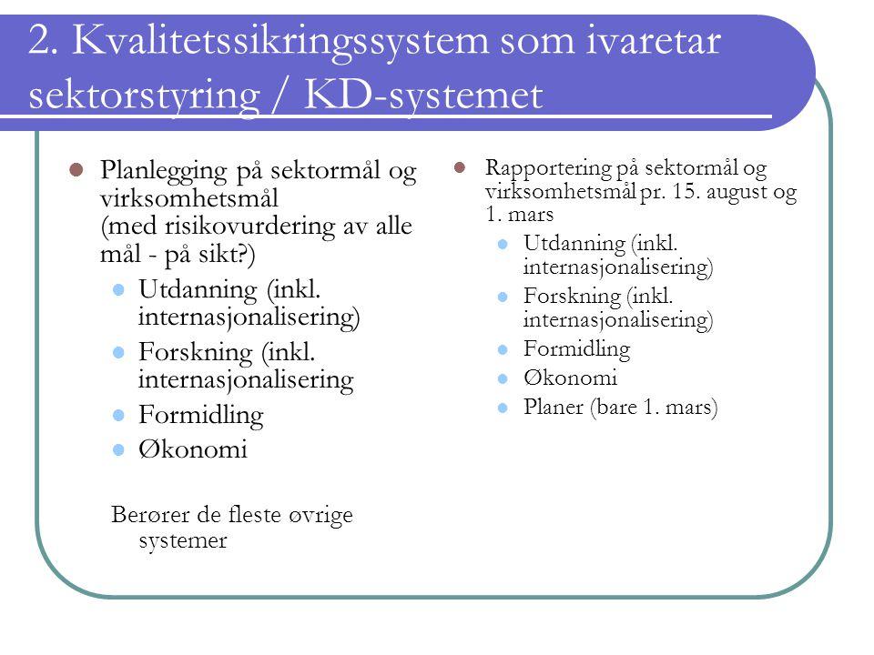 2. Kvalitetssikringssystem som ivaretar sektorstyring / KD-systemet Planlegging på sektormål og virksomhetsmål (med risikovurdering av alle mål - på s