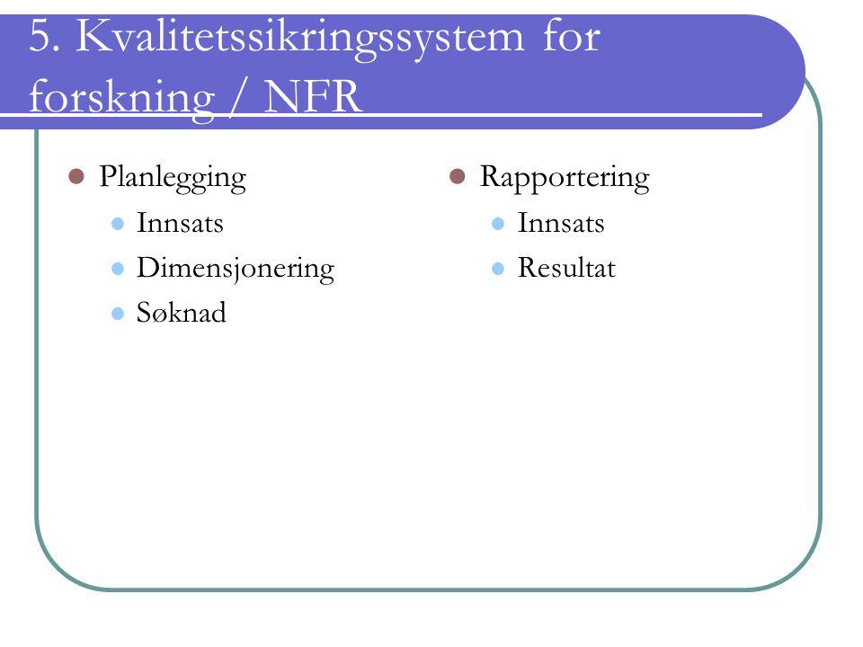 5. Kvalitetssikringssystem for forskning / NFR Planlegging Innsats Dimensjonering Søknad Rapportering Innsats Resultat